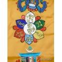 Bannière tibétaine CINQ SYMBOLES TENCS4