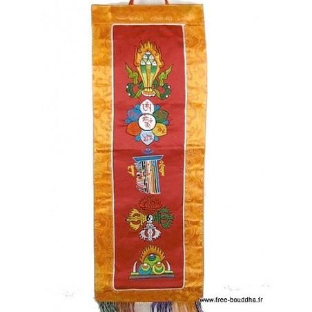 Bannière tibétaine rouge CINQ SYMBOLES