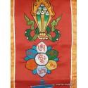Bannière tibétaine CINQ SYMBOLES TENCS5