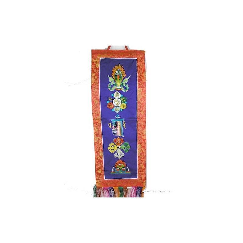 Tenture tibétaine bleue 5 symboles bouddhistes TENCS2