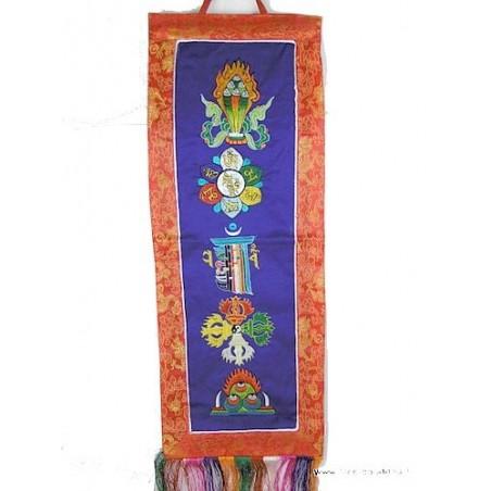Bannière tibétaine bleue CINQ SYMBOLES