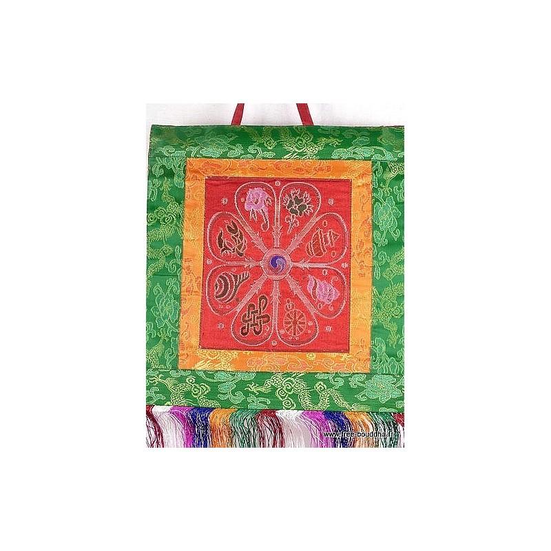Tenture murale bouddhiste SIGNES AUSPICIEUX couleur rouge TENSAU1