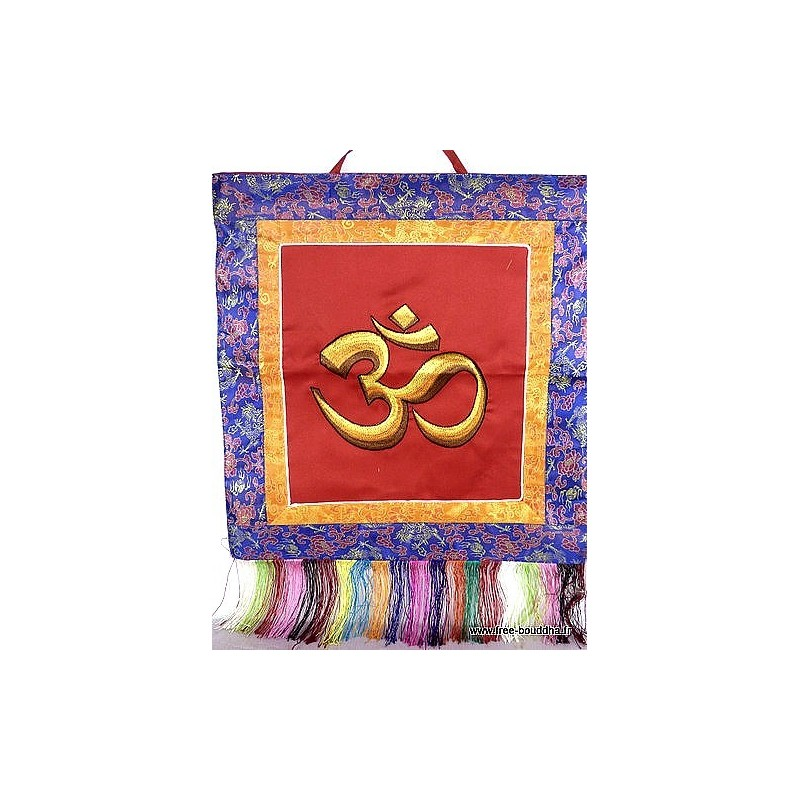 Bannière tenture tibétaine rouge OM TENOH4