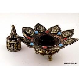 Brûleur d'encens tibétain 8 SIGNES AUSPICIEUX REF 3733.3