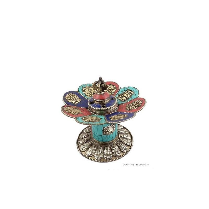 Brûleur d'encens tibétain CUIVRE et PIERRES