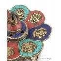 Brûleur d'encens tibétain CUIVRE et PIERRES ref 3032.6