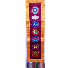Tenture tibétaine 7 chakras bordeau SEPTCHA