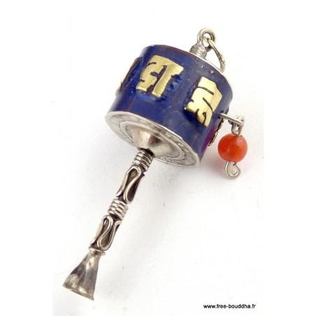 Pendentif BOUDDHISTE MOULIN A PRIERES en lapis lazuli