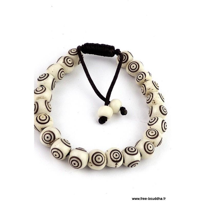 Bracelet mala tibétain OS DE YAK ref 90A