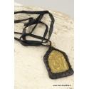 Collier tibétain métal et cuir WN40