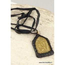Collier tibétain métal et cuir Bijoux tibetains bouddhistes  WN40