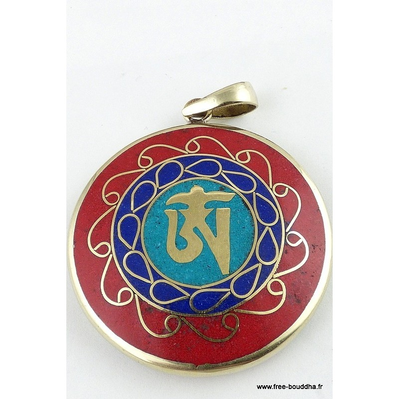 Pendentif bouddhiste réversible OM TIBETAIN ref36.2