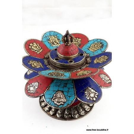 Brûleur d'encens tibétain DOUBLE LOTUS