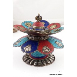 Brûleur d'encens tibétain DOUBLE LOTUS REF 37.6