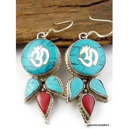 Boucles d'oreilles bouddhistes OM BN22