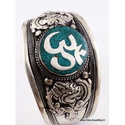 Gros bracelet tibétain OM hindouiste en turquoise Bijoux tibetains bouddhistes  BHB51.4