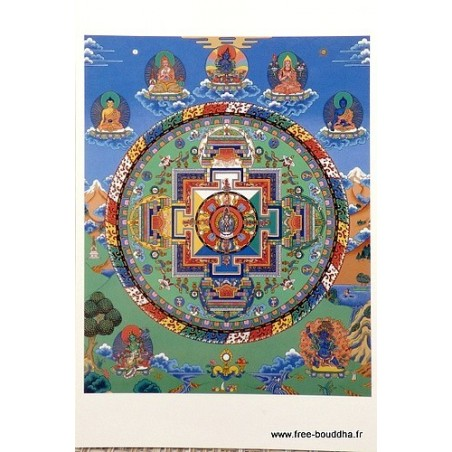 Carte postale bouddhiste MANDALA de CHENREZI