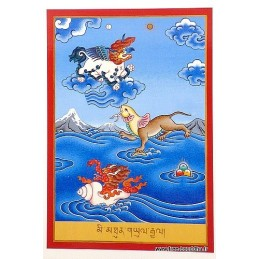 Carte postale bouddhiste SYMBOLES DE VICTOIRE