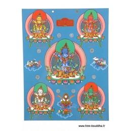 Carte postale bouddhiste CINQ BOUDDHAS