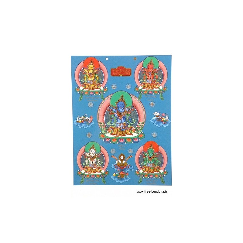 Carte postale bouddhiste CINQ BOUDDHAS CPB45
