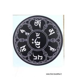 Sticker adhésif MANTRA DE CHENREZI couleur noir