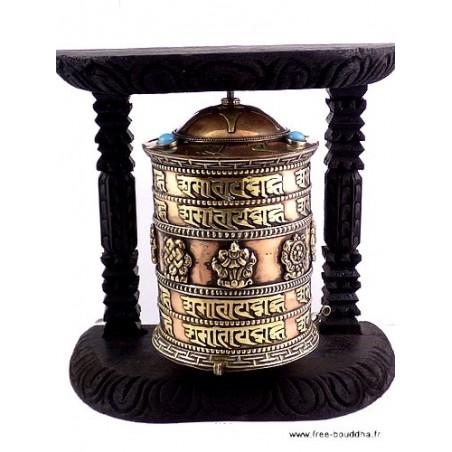 Moulin à prière tibétain orné de mantra 16.5 cm