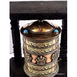 Moulin à prière tibétain orné de mantra 16.5 cm m100