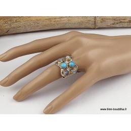 Bague Pierre de lune Turquoise taille 53 Bagues pierres naturelles jew13