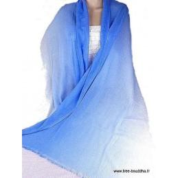 Châle laine et cachemire bleu PLC4