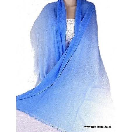 Châle laine et cachemire bleu