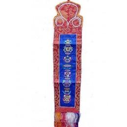 Tenture tibétaine 8 signes auspicieux bleue AUS2