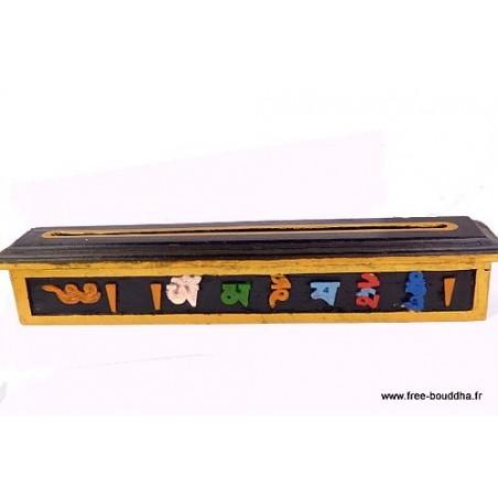 Brûle encens tibétain peint en bois