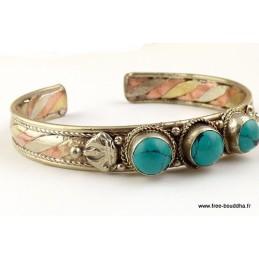 Bracelet tibétain cuivre et turquoise Bijoux tibetains bouddhistes  AST4