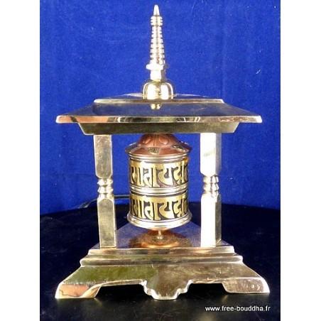 Moulin à prière bouddhiste en laiton 3 piliers