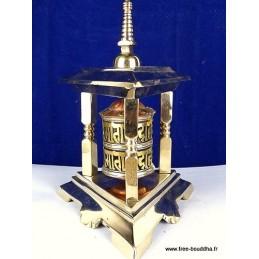 Moulin à prière bouddhiste en laiton 3 piliers 6304.1