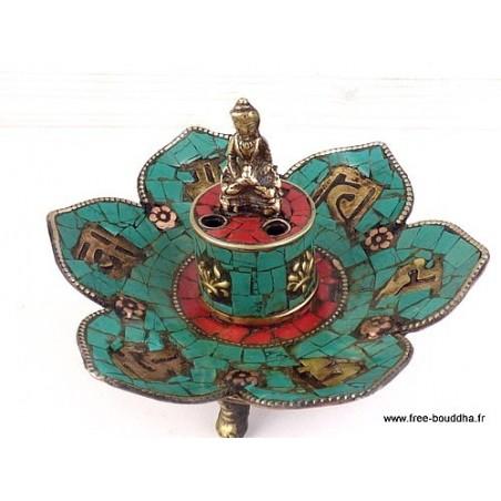 Porte-encens tibétain CUIVRE et PIERRES