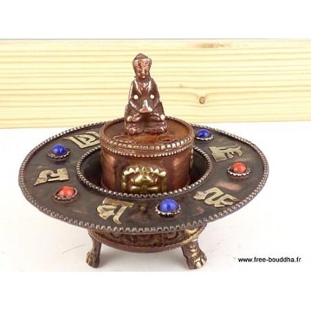 Brûleur d'encens tibétain rond orné de Mantra