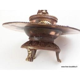 Brûleur d'encens tibétain rond orné de Mantra Encens tibétains, accessoires BESA2.1