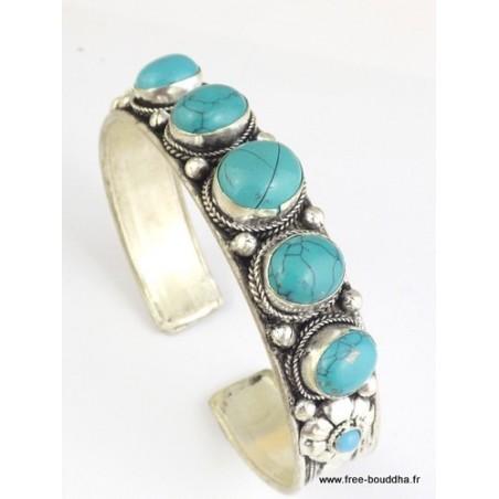 Bracelet tibétain 5 TURQUOISES