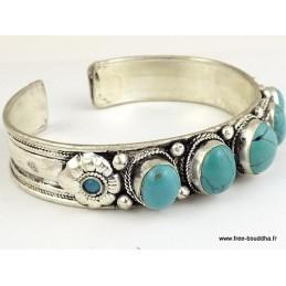 Bracelet tibétain 5 TURQUOISES Bracelets pierres naturelles BRACT1.1