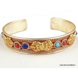 Bracelet tibétain Dorje Plaqué or Bijoux tibetains bouddhistes  BHB10.1