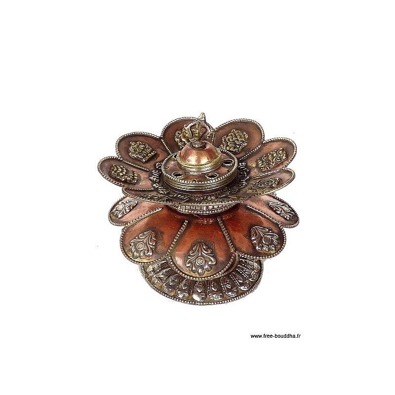 Brûleur d'encens tibétain Double Lotus ref 3032.15