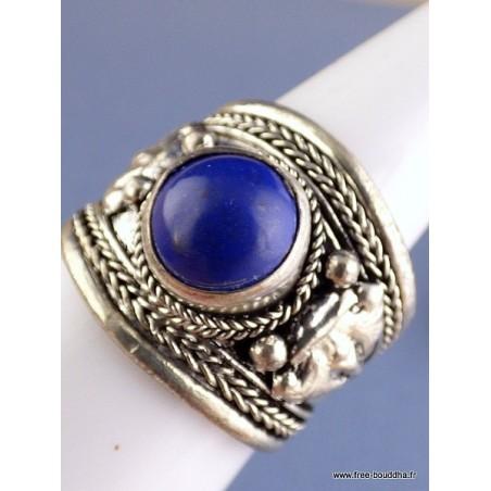 Bague tibétaine ornée d'un Lapis Lazuli