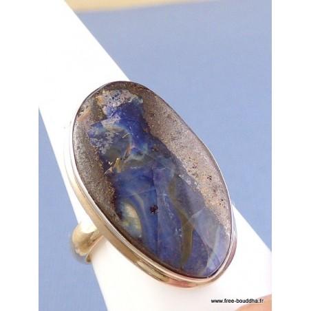 Bague ovale en Opale Boulder bleue T 63