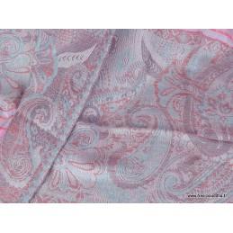 Chale rose bleu en laine fine CHALF4