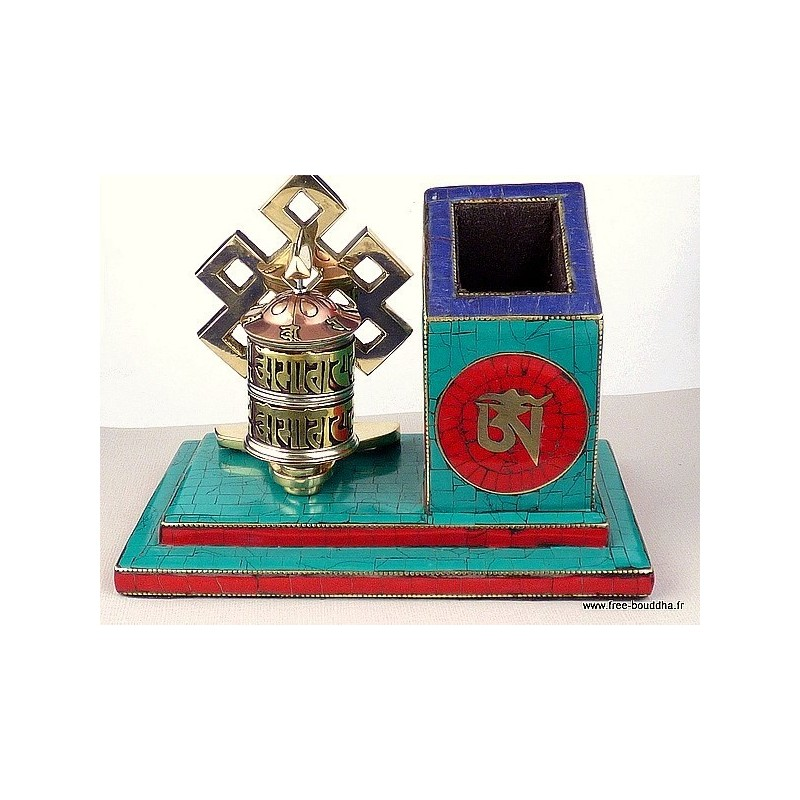 Porte-stylos tibétain serti de pierres NMAP14