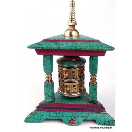 Moulin à prière bouddhiste forme temple