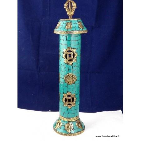 Porte encens bouddhiste en Turquoise