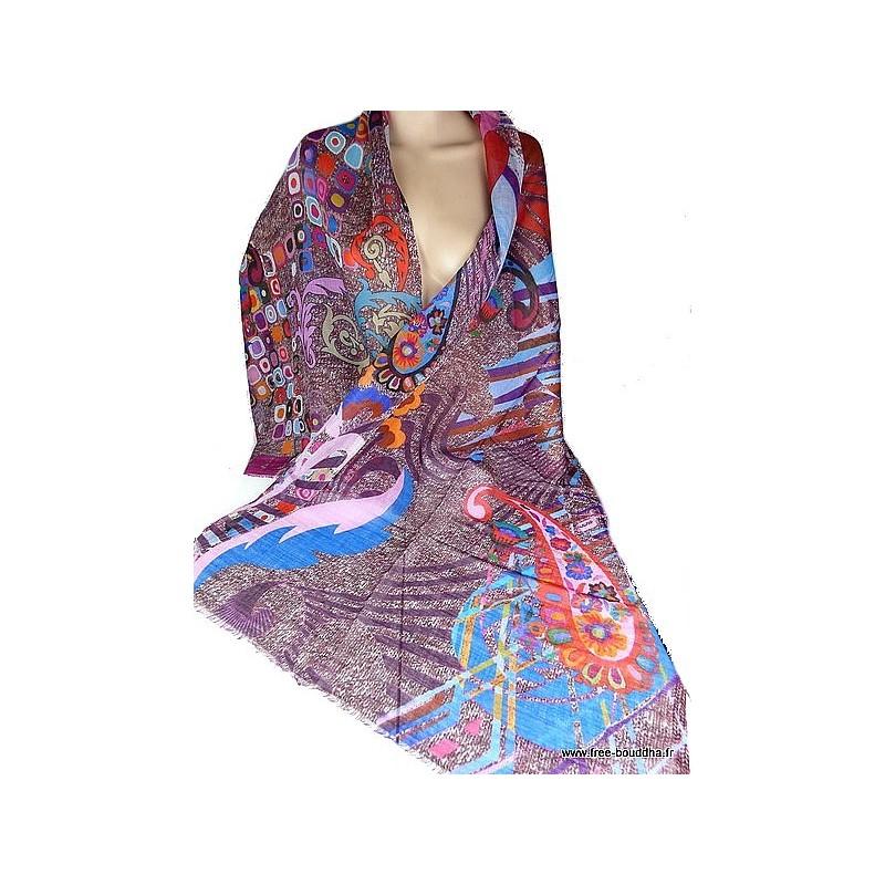 Foulard en laine fine et soie - Eveil Oriental 295808b3eb1