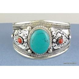 Gros bracelet tibétain en Turquoise
